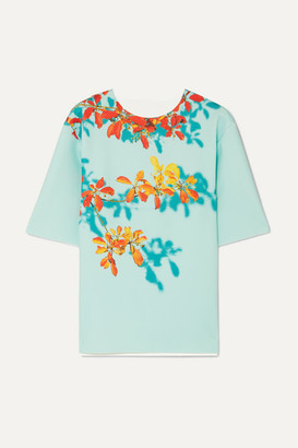 Dries Van Noten Conga Floral-print Stretch-scuba T-shirt - Light blue