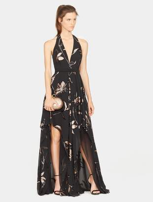 Halston Halter Floral Burnout Gown