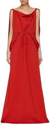 Rosie Assoulin Drape cape back drawstring sleeveless dress