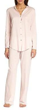 Hanro Women's Cotton Deluxe Long Sleeve Pajama