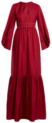 Roksanda Elvira Gathered Hem Silk Satin Twill Gown - Womens - Red