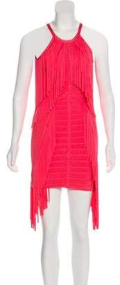 Herve Leger Metzi Fringe Dress Coral Metzi Fringe Dress