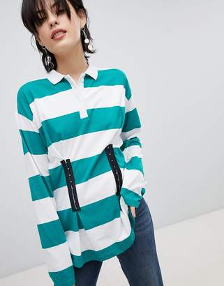 Asos DESIGN Polo Top in Rugby Stripe with Corset Detail