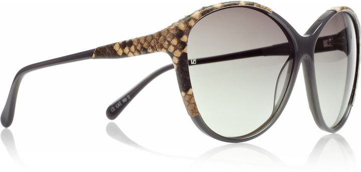 Linda Farrow Luxe Python-trimmed round-frame acetate sunglasses