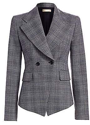 Michael Kors Women's Virgin Wool Plaid Cutaway Jacket - Size 0