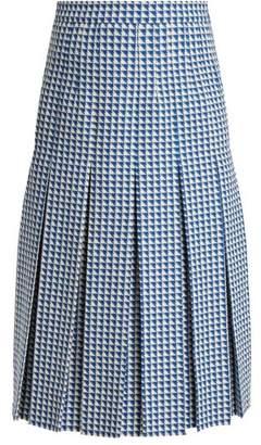 Gucci Pleated Wool Blend Tweed Skirt - Womens - Blue Multi
