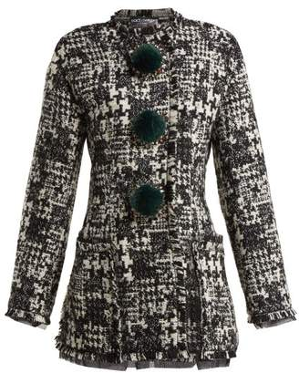 Dolce & Gabbana Pompom Embellished Tweed Jacket - Womens - Black White