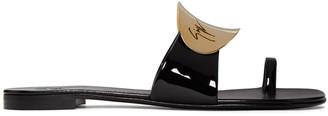 Giuseppe Zanotti Black Patent Mirror Nuvorock Sandals $545 thestylecure.com