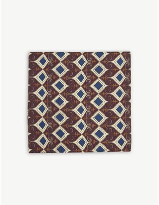 Eton Geometric print silk pocket square