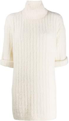 Courreges ribbed knit turtleneck dress