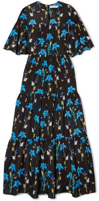 Borgo De Nor - Serena Printed Crepe De Chine Midi Dress - Black