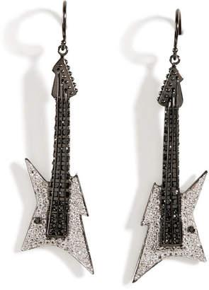 Lynn Ban Black Rhodium Silver Guitar Earrings B in White