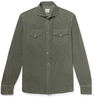 Brunello Cucinelli Cutaway-Collar Cotton-Corduroy Western Shirt - Men - Green
