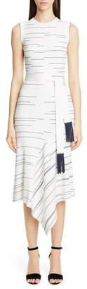 Yigal Azrouel Stripe Rib Asymmetrical Midi Sweater Dress