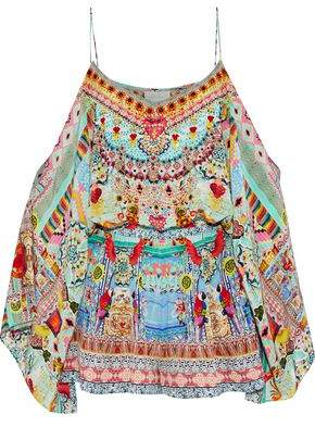 Camilla Tribal Theory Cold-Shoulder Embellished Printed Silk Crepe De Chine Playsuit