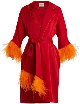 Osman Eve feather-trimmed satin kimono