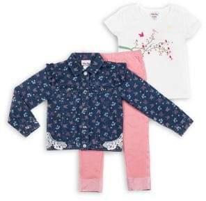 65d12c5e2f13 Little Lass Baby Girl's 3-Piece Floral Denim Jacket Set