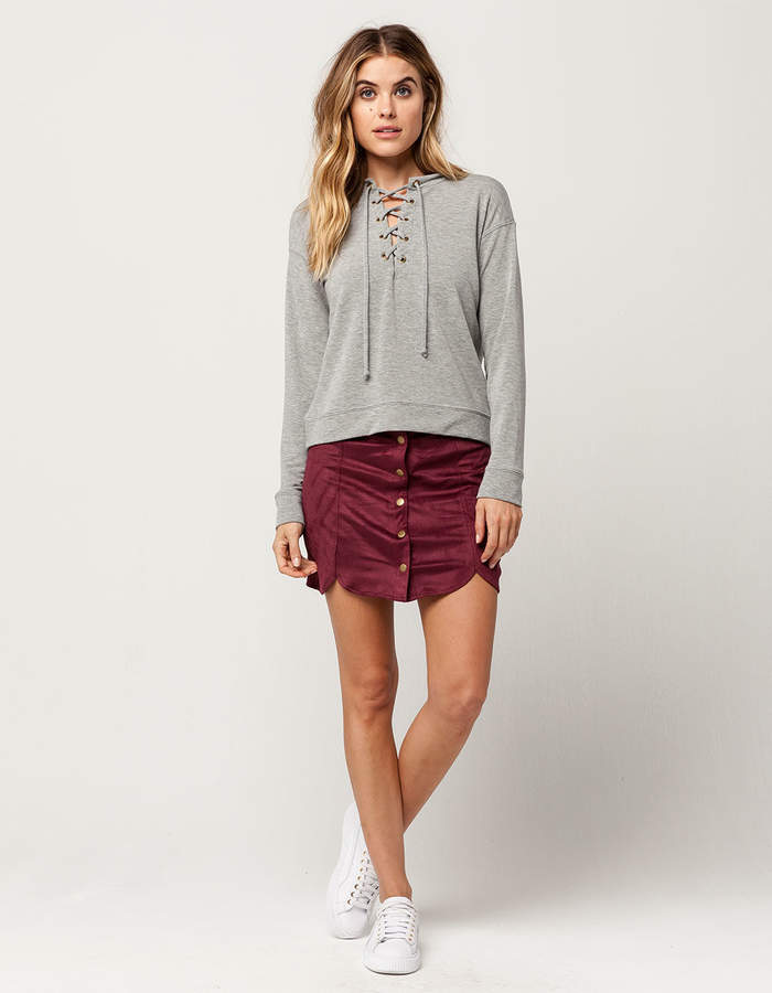 Ivy & Main IVY + MAIN Suede Scallop Skirt