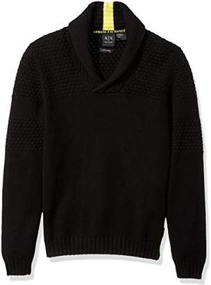 Armani Exchange A|X Men's Textured Knit Shawl Collar Sweater