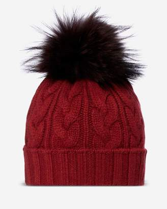 N.Peal Chunky Cable Raccoon Pom Hat
