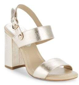 Joie Lakin Metallic Leather Block Heel Sandals