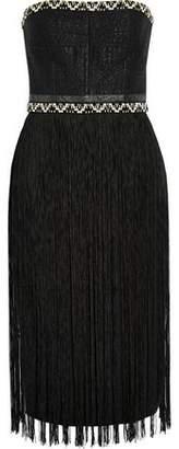 Tamara Mellon Fringed Woven And Crepe Dress