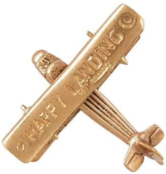 Annina Vogel Vintage Gold Happy Landing Aeroplane Pendant