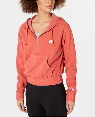 Champion Vintage-Dyed Fleece Half-Zip Hoodie