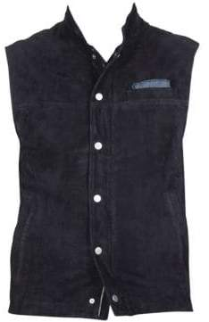 Eleventy Men's Suede Snap-Button Zip Gilet - Midnight - Size 50 (40)