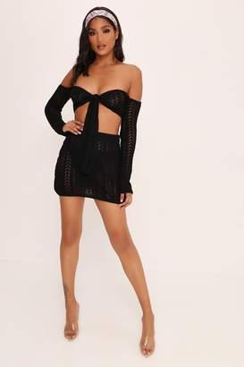 I SAW IT FIRST Black Crochet Mini Skirt
