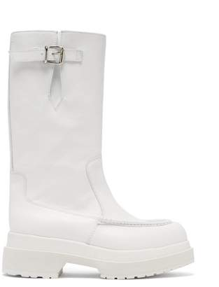 MM6 MAISON MARGIELA Buckled Leather Boots - Womens - White