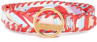 Emilio Pucci Burle Print Whipstitched Leather Belt