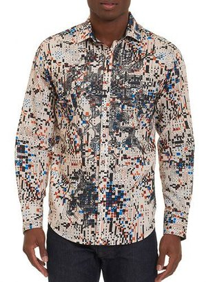Robert Graham Limited Edition Galaxy Complex Sport Shirt, Cream $398 thestylecure.com
