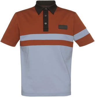 Prada Striped Pique Polo With Rubber Patch