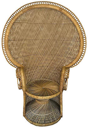 One Kings Lane Vintage Midcentury Woven Wicker Peacock Chair - Uptown Found