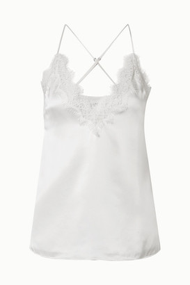 CAMI NYC Everly Lace-trimmed Silk-charmeuse Camisole - White