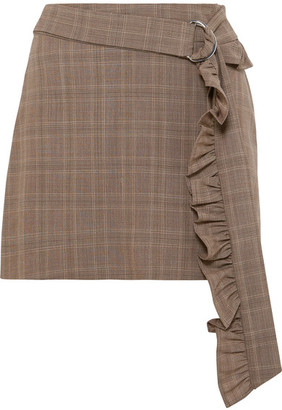 Maggie Marilyn - Got My Mind Made Up Belted Checked Organic Wool Mini Skirt - Brown