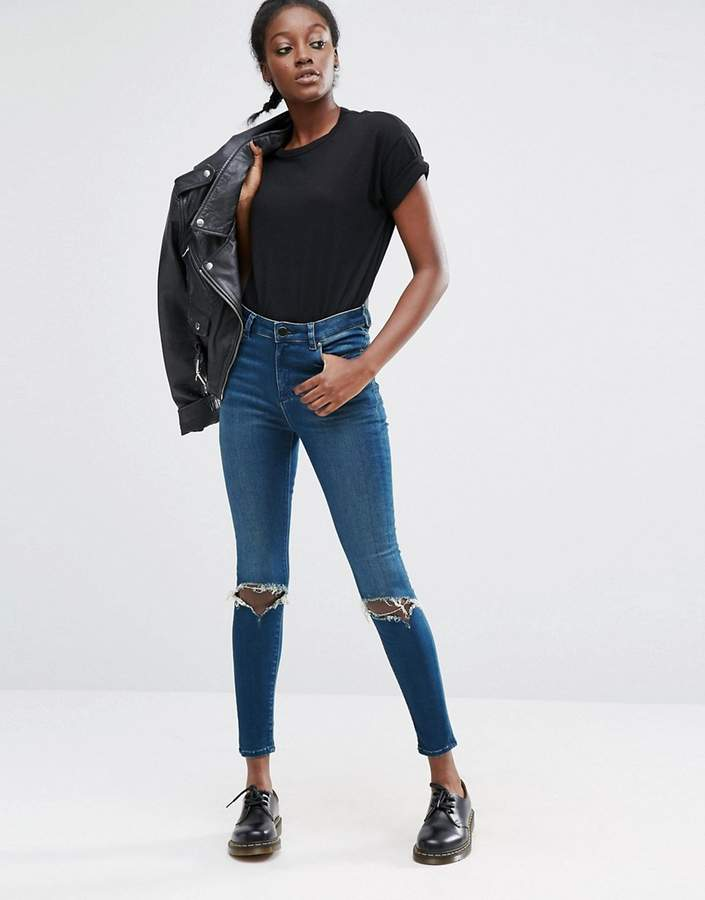 Asos Ridley High Waist Skinny Jeans in Mahogany Dark Stonewash with Busted Knee Rips