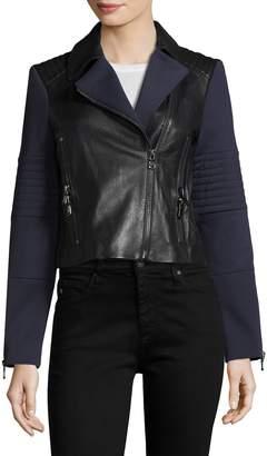 J Brand Women's Aiah Leather Mix Jacket