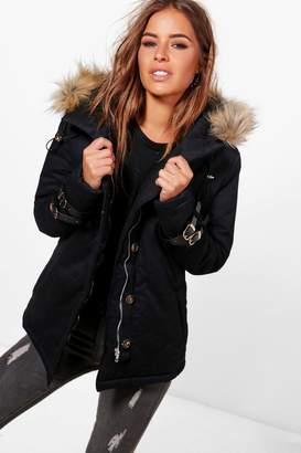 boohoo Petite Holly Buckle Detail Faux Fur Hood Parka