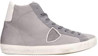 Philippe Model High Grey Leather Sneakers