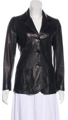 Trussardi Leather Notch-Lapel Jacket