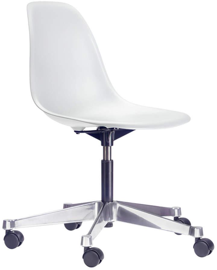 Eames Plastic Side Chair PSCC, Weiß (Rollen für harte Böden)
