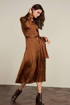 Next Womens Ginger Pleated Shirt Dress - Orange
