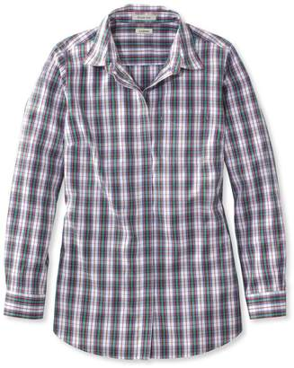 L.L. Bean L.L.Bean Wrinkle-Free Pinpoint Oxford Tunic, Long-Sleeve Plaid