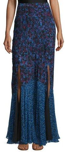 Rebecca Taylor Bouquet Rhapsody Silk-Blend Maxi Skirt, Blue