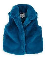 Milly Kids' Faux-Fur Vest - Blue