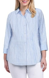 Foxcroft Sue Crinkle Mixed Gingham Shirt