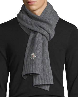 Moncler Solid Cable-Knit Wool Scarf