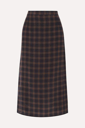 Rokh Houndstooth Silk-georgette Midi Skirt - Black